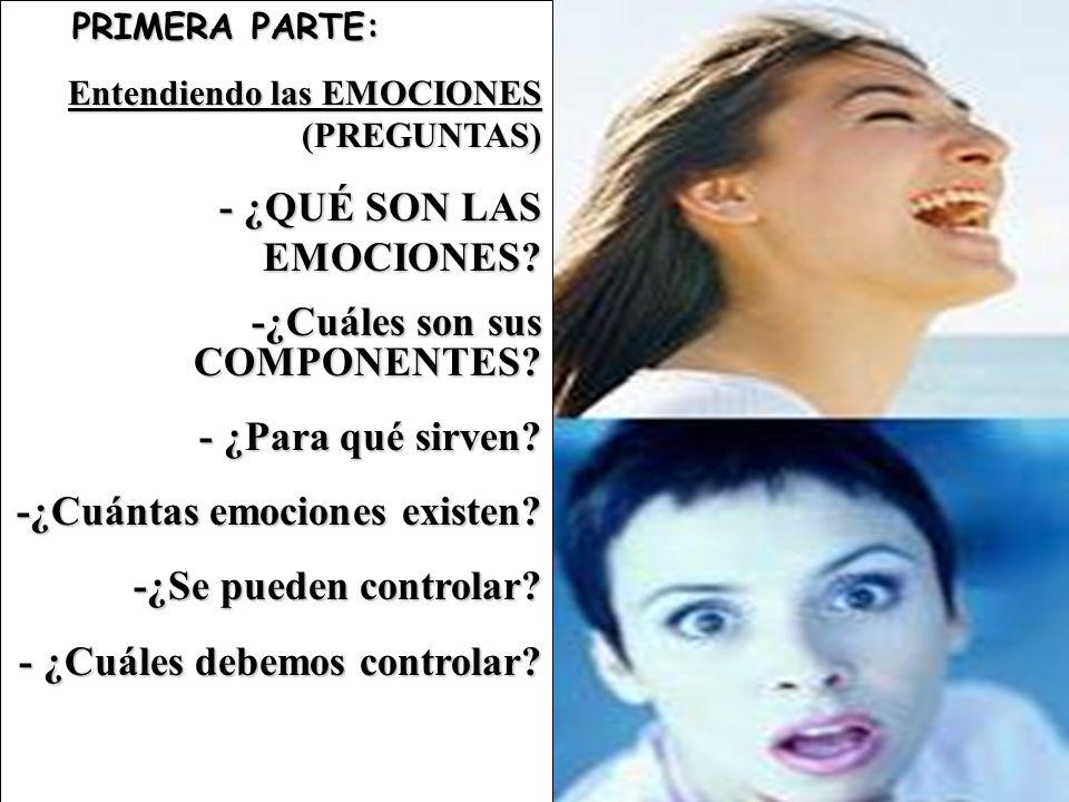 PRIMERA PARTE: PRIMERA PARTE: Entendiendo las EMOCIONES (PREGUNTAS) - ¿QUÉ SON LAS EMOCIONES? -¿Cuáles son sus COMPONENTES? - ¿Para qué sirven? -¿Cuán