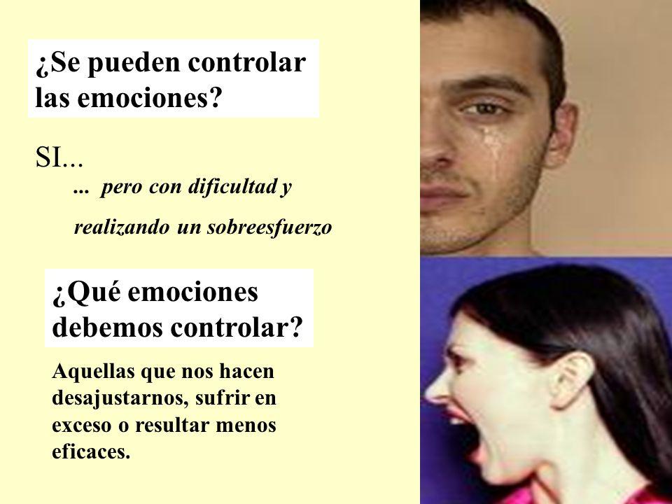 ¿Se pueden controlar las emociones? SI...... pero con dificultad y realizando un sobreesfuerzo ¿Qué emociones debemos controlar? Aquellas que nos hace