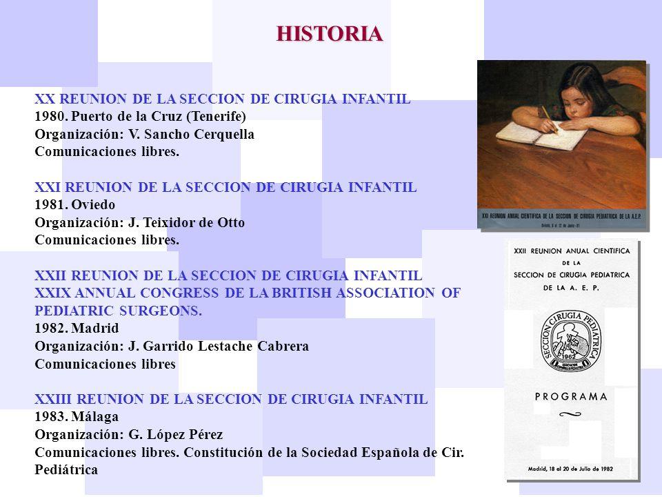XX REUNION DE LA SECCION DE CIRUGIA INFANTIL 1980. Puerto de la Cruz (Tenerife) Organización: V. Sancho Cerquella Comunicaciones libres. XXI REUNION D