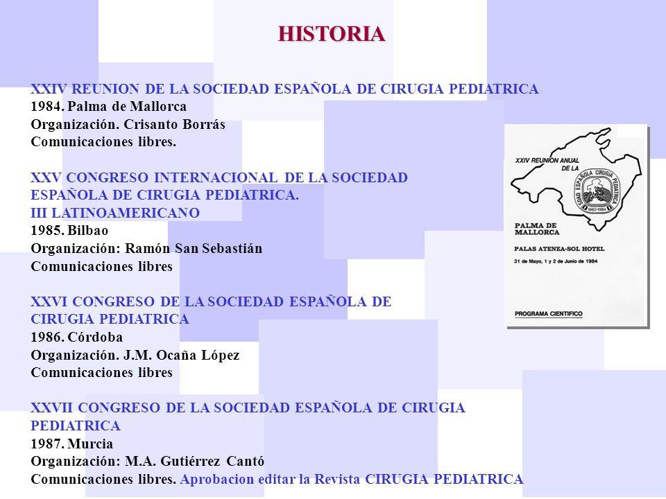 HISTORIA XXIV REUNION DE LA SOCIEDAD ESPAÑOLA DE CIRUGIA PEDIATRICA 1984. Palma de Mallorca Organización. Crisanto Borrás Comunicaciones libres. XXV C