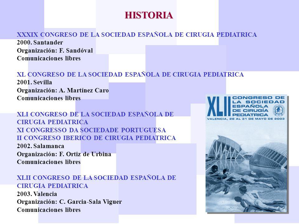 HISTORIA XXXIX CONGRESO DE LA SOCIEDAD ESPAÑOLA DE CIRUGIA PEDIATRICA 2000. Santander Organización: F. Sandóval Comunicaciones libres XL CONGRESO DE L