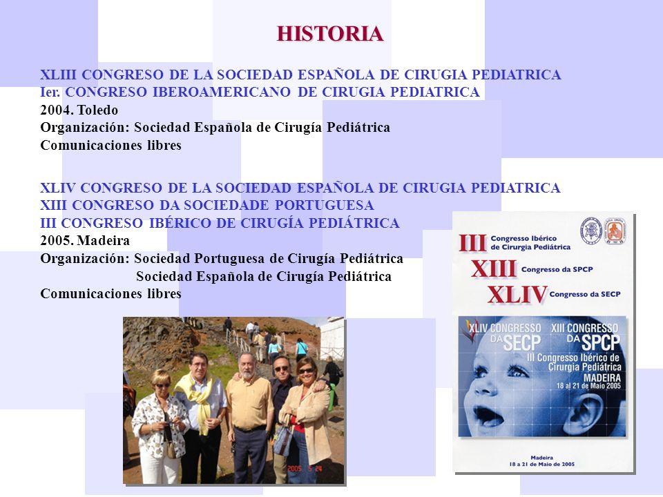 HISTORIA XLIII CONGRESO DE LA SOCIEDAD ESPAÑOLA DE CIRUGIA PEDIATRICA Ier. CONGRESO IBEROAMERICANO DE CIRUGIA PEDIATRICA 2004. Toledo Organización: So
