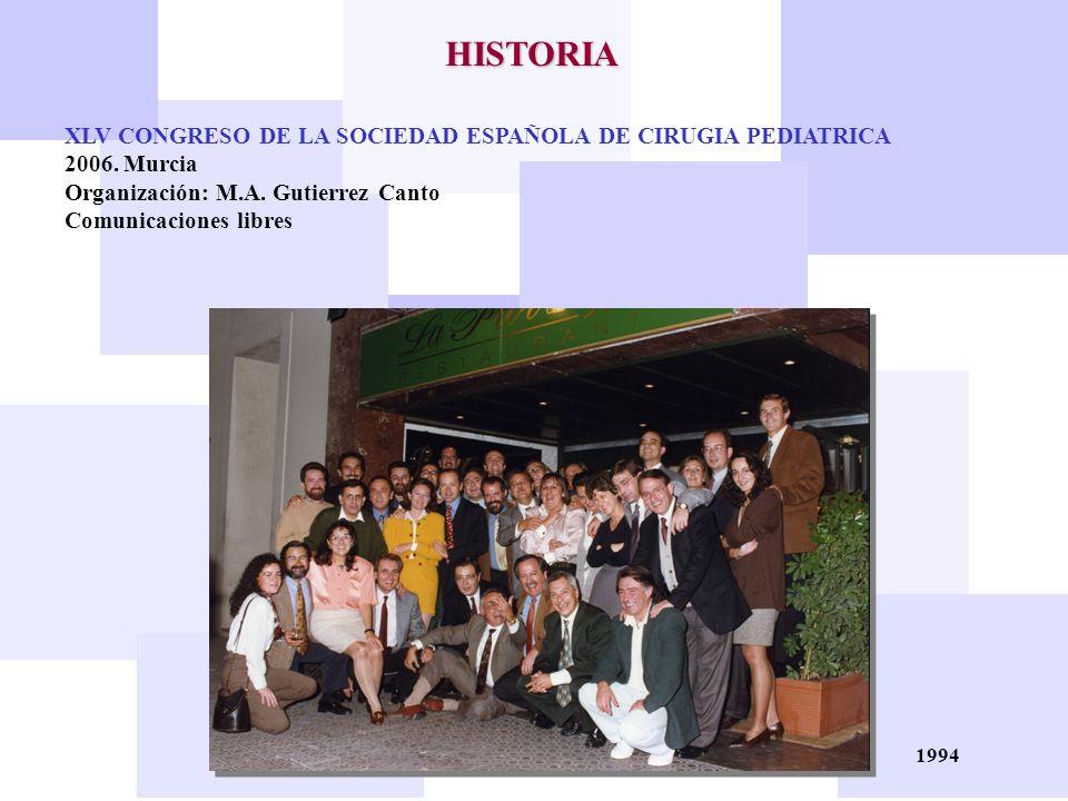 1994 HISTORIA XLV CONGRESO DE LA SOCIEDAD ESPAÑOLA DE CIRUGIA PEDIATRICA 2006. Murcia Organización: M.A. Gutierrez Canto Comunicaciones libres