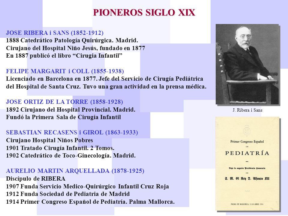 JOSE RIBERA i SANS (1852-1912) 1888 Catedrático Patología Quirúrgica. Madrid. Cirujano del Hospital Niño Jesús, fundado en 1877 En 1887 publicó el lib