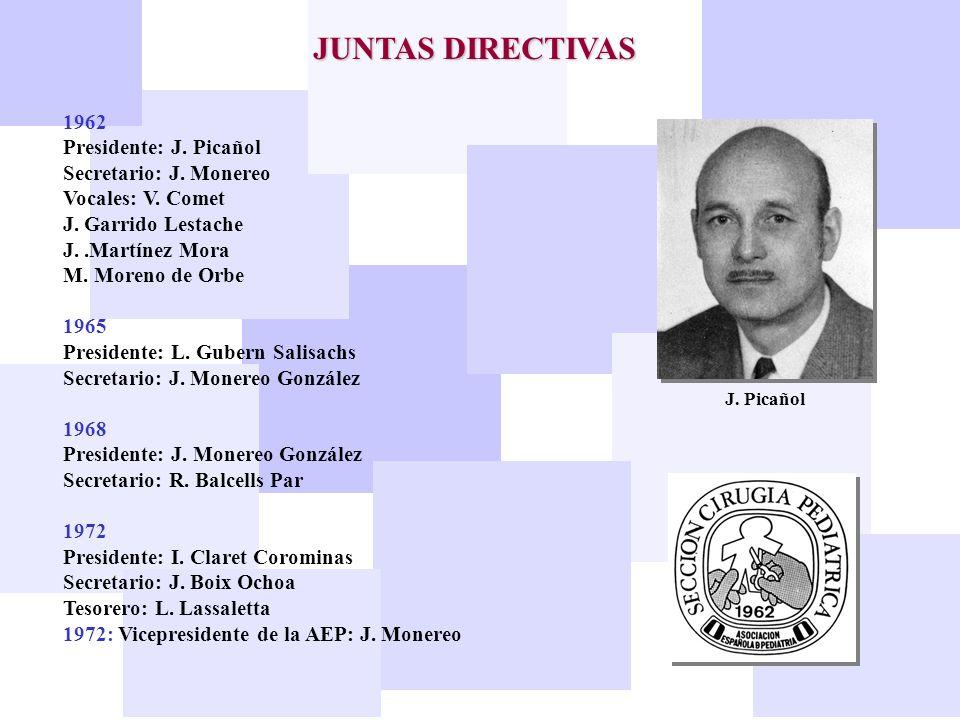 JUNTAS DIRECTIVAS 1962 Presidente: J. Picañol Secretario: J. Monereo Vocales: V. Comet J. Garrido Lestache J..Martínez Mora M. Moreno de Orbe 1965 Pre