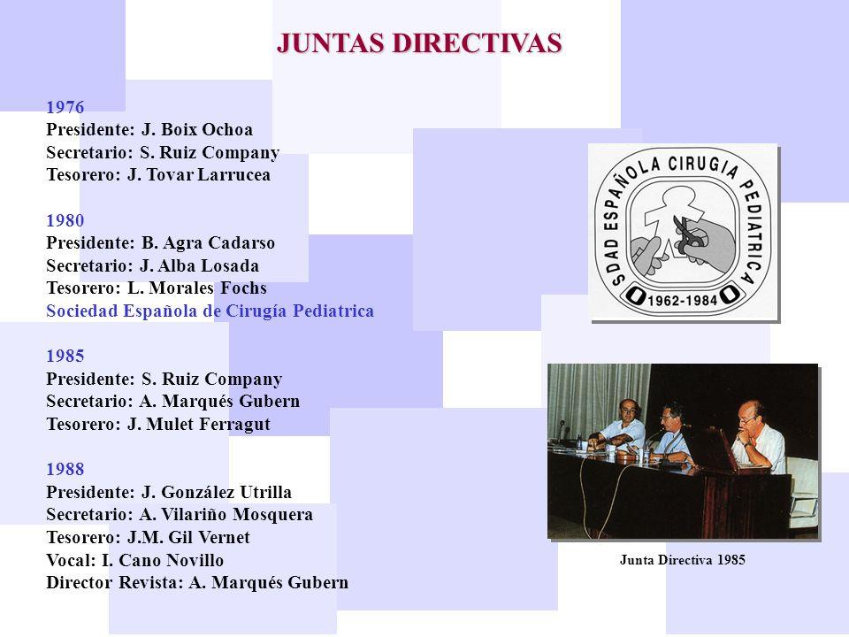 JUNTAS DIRECTIVAS 1976 Presidente: J. Boix Ochoa Secretario: S. Ruiz Company Tesorero: J. Tovar Larrucea 1980 Presidente: B. Agra Cadarso Secretario: