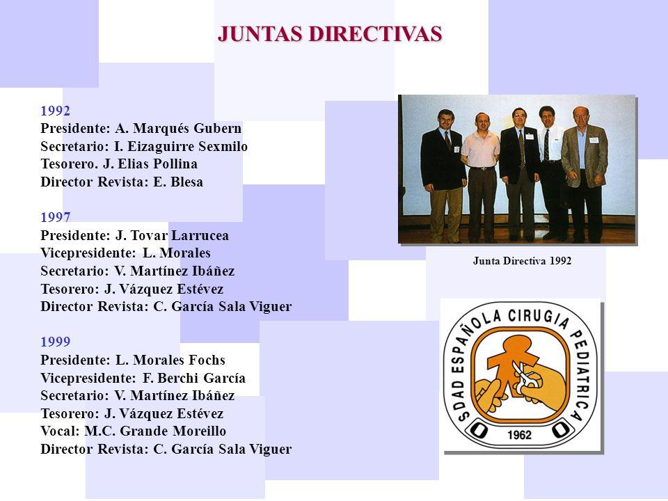 JUNTAS DIRECTIVAS 1992 Presidente: A. Marqués Gubern Secretario: I. Eizaguirre Sexmilo Tesorero. J. Elias Pollina Director Revista: E. Blesa 1997 Pres