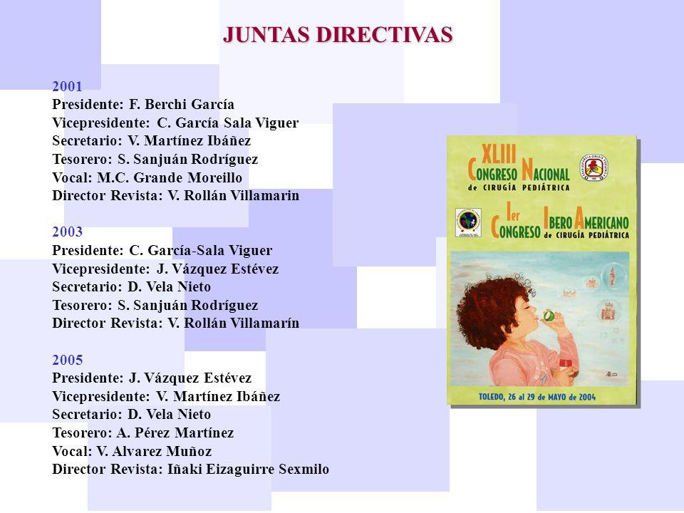 JUNTAS DIRECTIVAS 2001 Presidente: F. Berchi García Vicepresidente: C. García Sala Viguer Secretario: V. Martínez Ibáñez Tesorero: S. Sanjuán Rodrígue