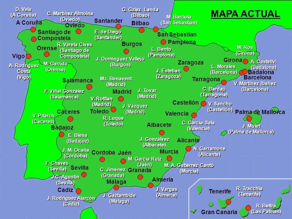 Madrid Barcelona Oviedo Valencia Sevilla Zaragoza Bilbao A Coruña Alicante Málaga Santander Granada Tarragona Pamplona Badalona Almería Castellón San