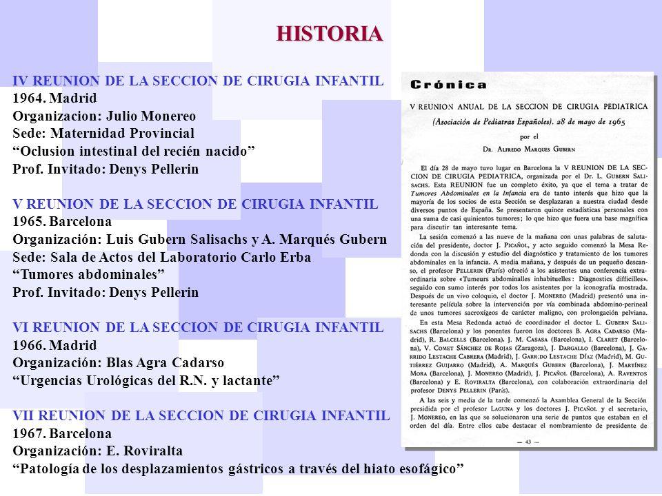 HISTORIA IV REUNION DE LA SECCION DE CIRUGIA INFANTIL 1964. Madrid Organizacion: Julio Monereo Sede: Maternidad Provincial Oclusion intestinal del rec