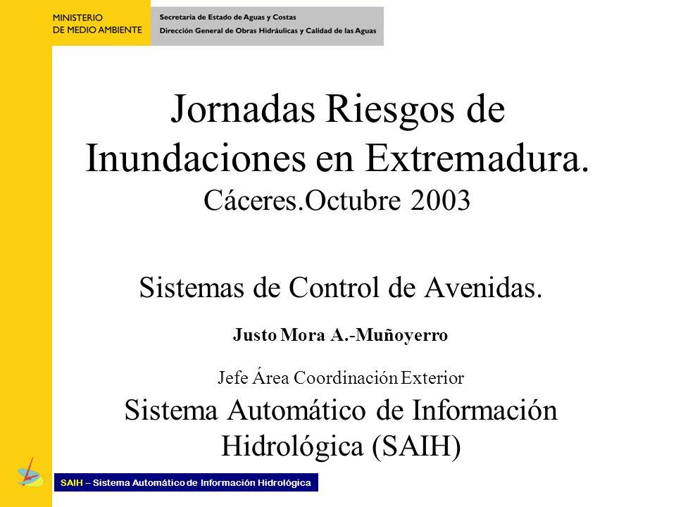 Jornadas Riesgos de Inundaciones en Extremadura. Cáceres.Octubre 2003 Sistemas de Control de Avenidas. Justo Mora A.-Muñoyerro Jefe Área Coordinación