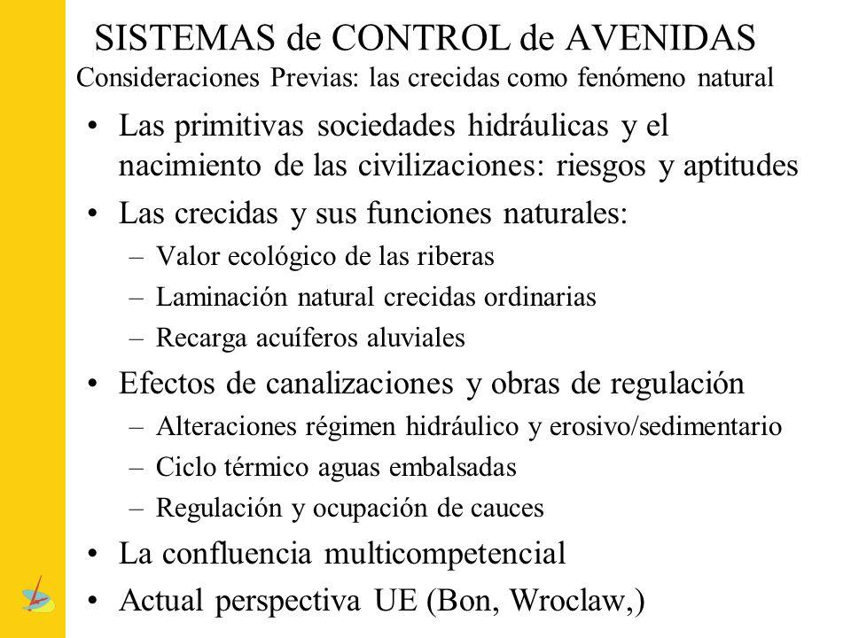SISTEMAS de CONTROL de AVENIDAS Consideraciones Previas: las crecidas como fenómeno natural Las primitivas sociedades hidráulicas y el nacimiento de l
