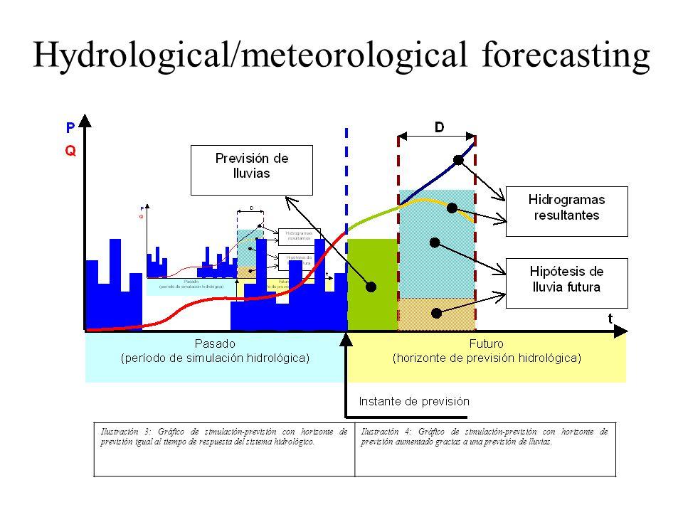 Hydrological/meteorological forecasting Ilustración 3: Gráfico de simulación-previsión con horizonte de previsión igual al tiempo de respuesta del sis