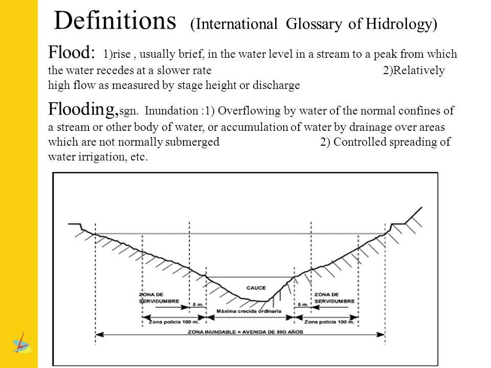 SISTEMAS de CONTROL de AVENIDAS Definiciones: avenidas e inundaciones Avenida (flood): Elevación, generalmente rápida en el nivel de las aguas de un curso, hasta un máximo a partir del cual dicho nivel desciende a una velocidad menor.