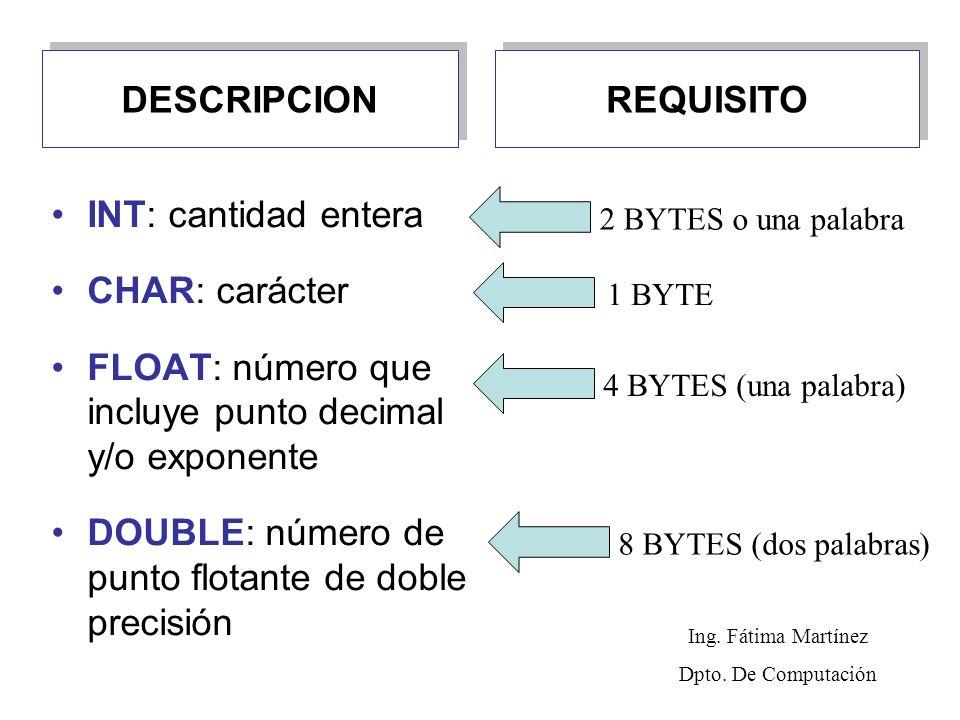 DESCRIPCION INT: cantidad entera CHAR: carácter FLOAT: número que incluye punto decimal y/o exponente DOUBLE: número de punto flotante de doble precisión REQUISITO 2 BYTES o una palabra1 BYTE4 BYTES (una palabra)8 BYTES (dos palabras) Ing.