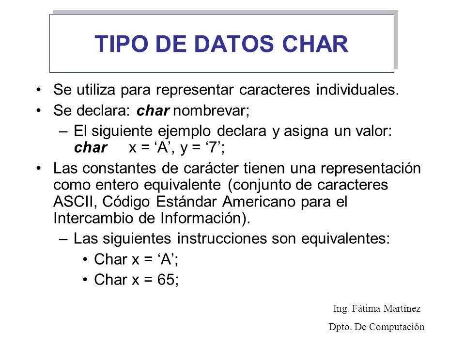 TIPO DE DATOS CHAR Se utiliza para representar caracteres individuales. Se declara: char nombrevar; –El siguiente ejemplo declara y asigna un valor: c