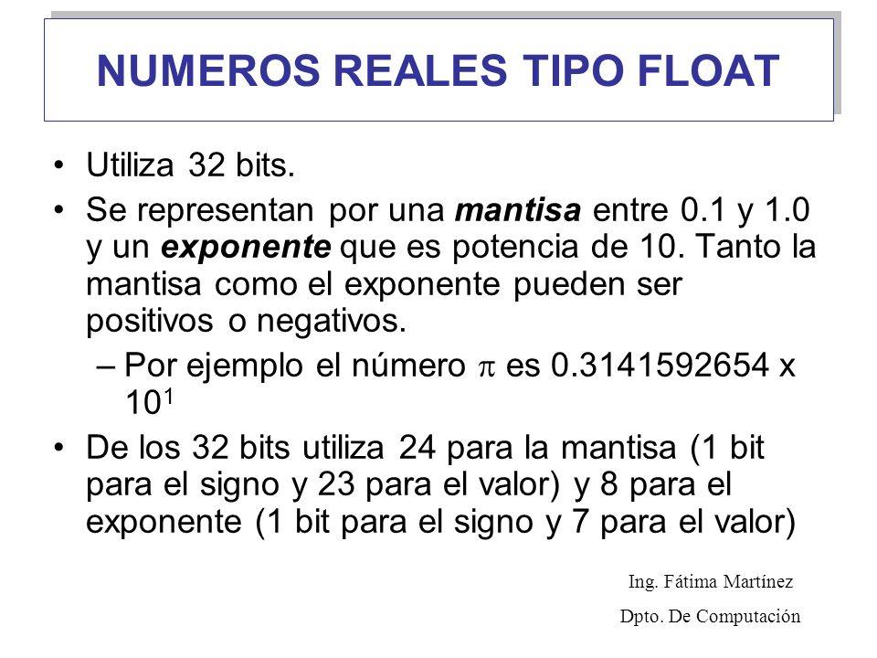 NUMEROS REALES TIPO FLOAT Utiliza 32 bits. Se representan por una mantisa entre 0.1 y 1.0 y un exponente que es potencia de 10. Tanto la mantisa como