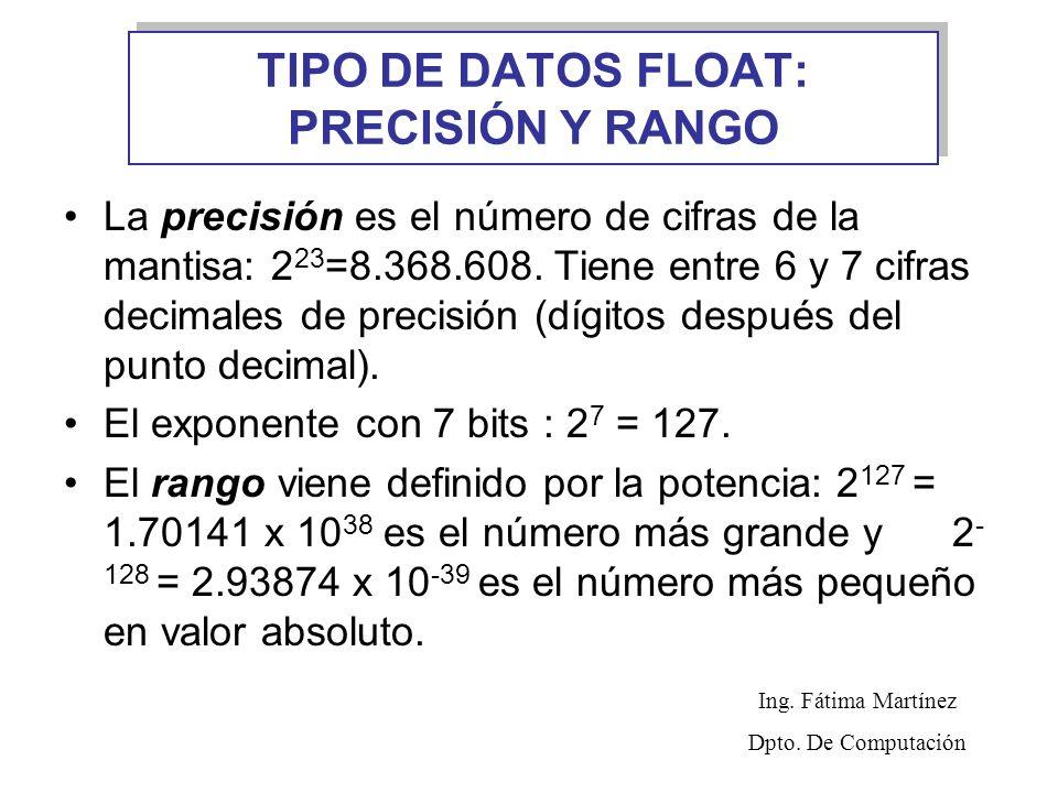TIPO DE DATOS FLOAT: PRECISIÓN Y RANGO La precisión es el número de cifras de la mantisa: 2 23 =8.368.608. Tiene entre 6 y 7 cifras decimales de preci