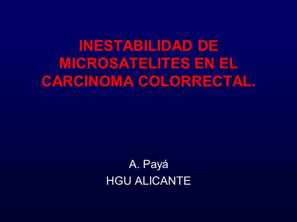 Vías Oncogénicas Supresora –85% –APC, K-ras, p53 –Inestabilidad cromosómica (aneuploides) –Poliposis Colónica Familiar Mutadora –15% –MLH1, MSH2, MSH6, PMS2, PMS1 –Inestabilidad microsatélites (diploides) –Carcinoma Colorrectal Hereditario no Polipósico (CCHNP ó Sdre.de Lynch)