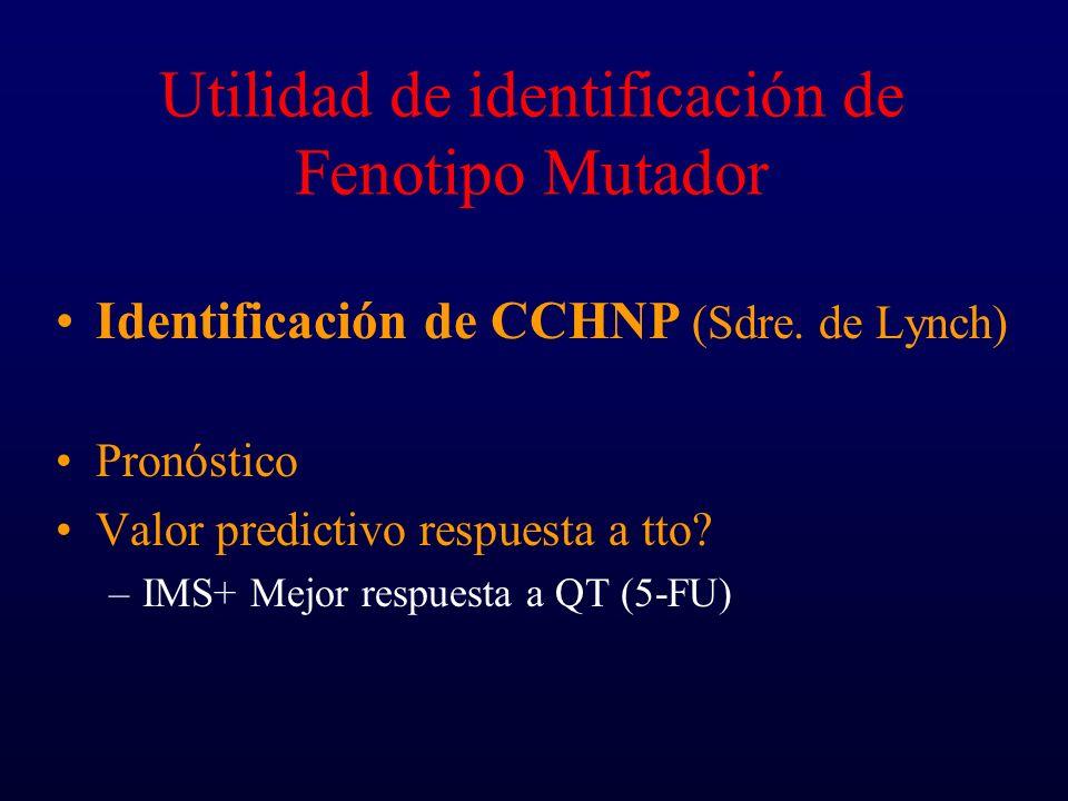 Utilidad de identificación de Fenotipo Mutador Identificación de CCHNP (Sdre. de Lynch) Pronóstico Valor predictivo respuesta a tto? –IMS+ Mejor respu