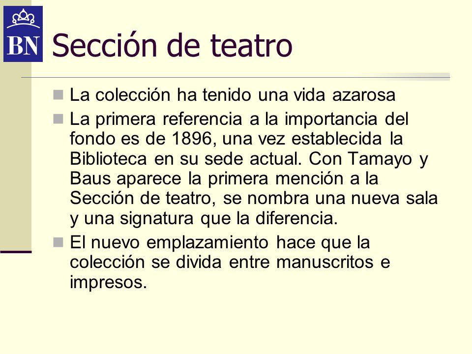 Osuna La biblioteca del Duque de Osuna e Infantado ingreso por compra en 1886 Gran riqueza de manuscritos con más de 1000 comedias manuscritas, muchas autógrafas de Calderón, Lope, Tirso 35.000 volúmenes impresos