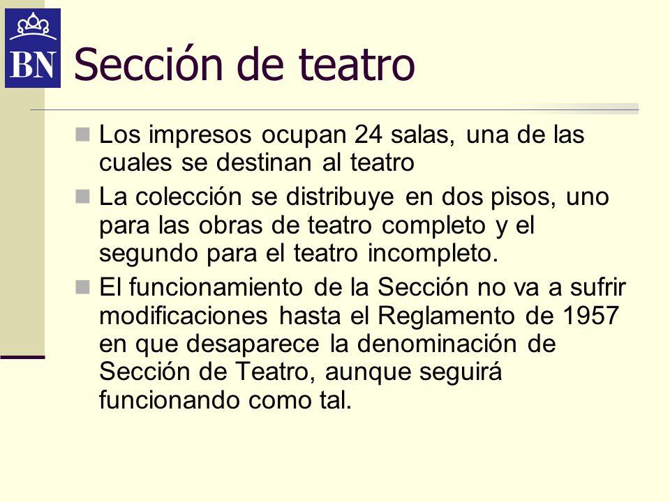 Sección de teatro Nuevos cambios en la Biblioteca Nacional a mediados de los años 80 del siglo pasado, crean el gabinete de Impresos Reservados y dentro de éste una Sección de Siglo de Oro con responsabilidades de las antiguas secciones de Cervantes y Siglo de Oro.