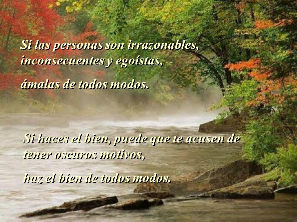 Si las personas son irrazonables, inconsecuentes y egoístas, ámalas de todos modos.