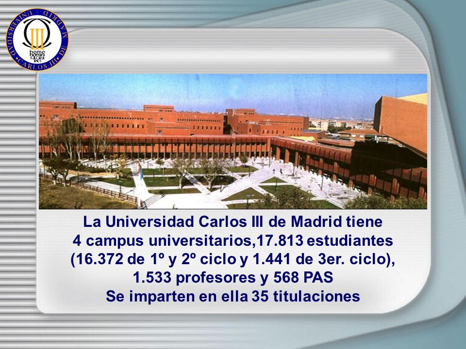 La Universidad Carlos III de Madrid tiene 4 campus universitarios,17.813 estudiantes (16.372 de 1º y 2º ciclo y 1.441 de 3er.