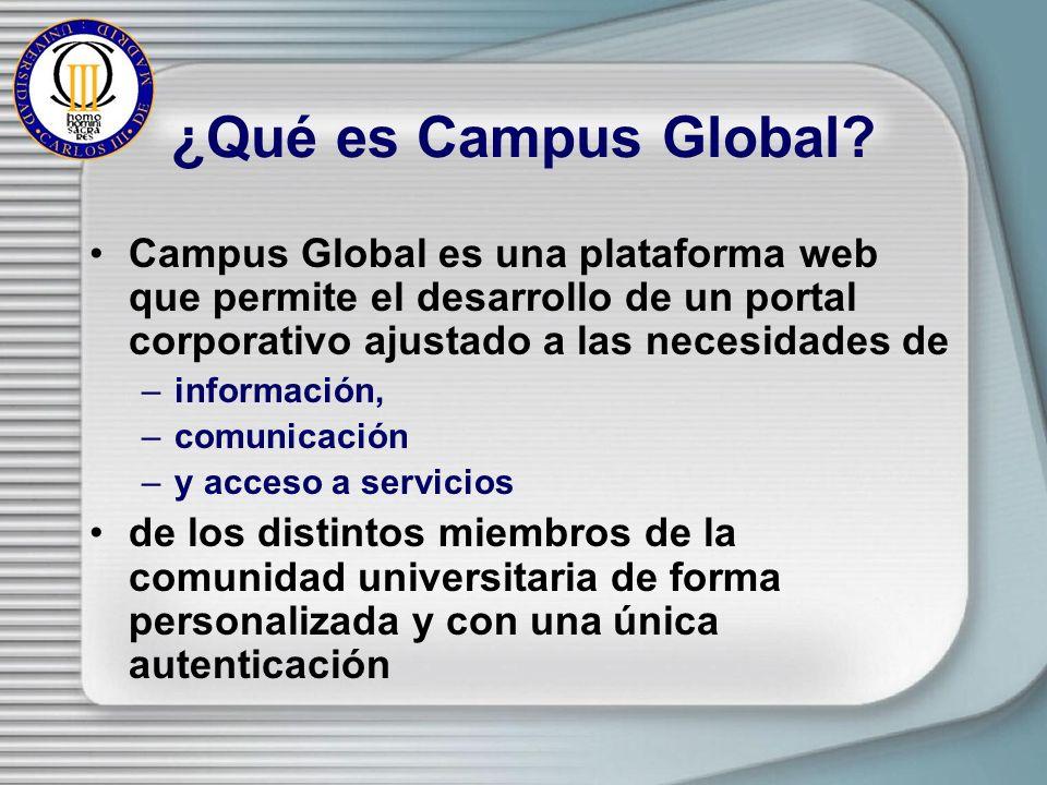 ¿Qué es Campus Global? Campus Global es una plataforma web que permite el desarrollo de un portal corporativo ajustado a las necesidades de –informaci
