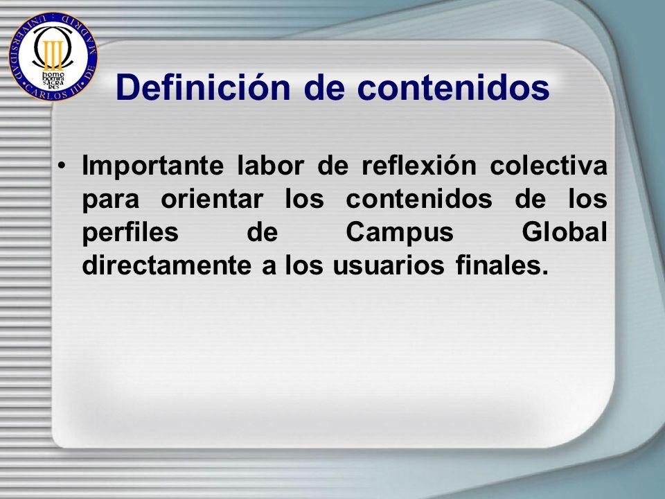 Definición de contenidos Importante labor de reflexión colectiva para orientar los contenidos de los perfiles de Campus Global directamente a los usuarios finales.
