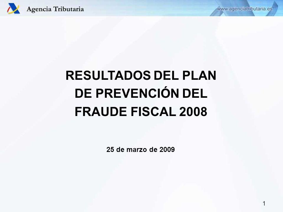 1 RESULTADOS DEL PLAN DE PREVENCIÓN DEL FRAUDE FISCAL 2008 25 de marzo de 2009
