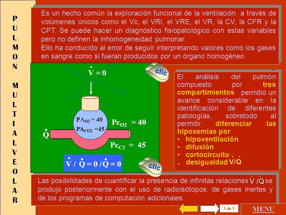 P U L M O N M O N O A L V E O L A R 1 de 1 V V Ma. Pc O2 = 150 Pc c O2 = 0 V /. Q = V / 0 =.. 8 PA O2 = 150 PA CO2 = 0 Si se tratara de un pulmón mono