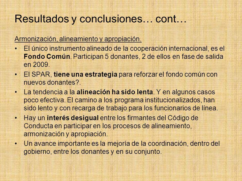 Resultados y conclusiones… cont… Armonización, alineamiento y apropiación.