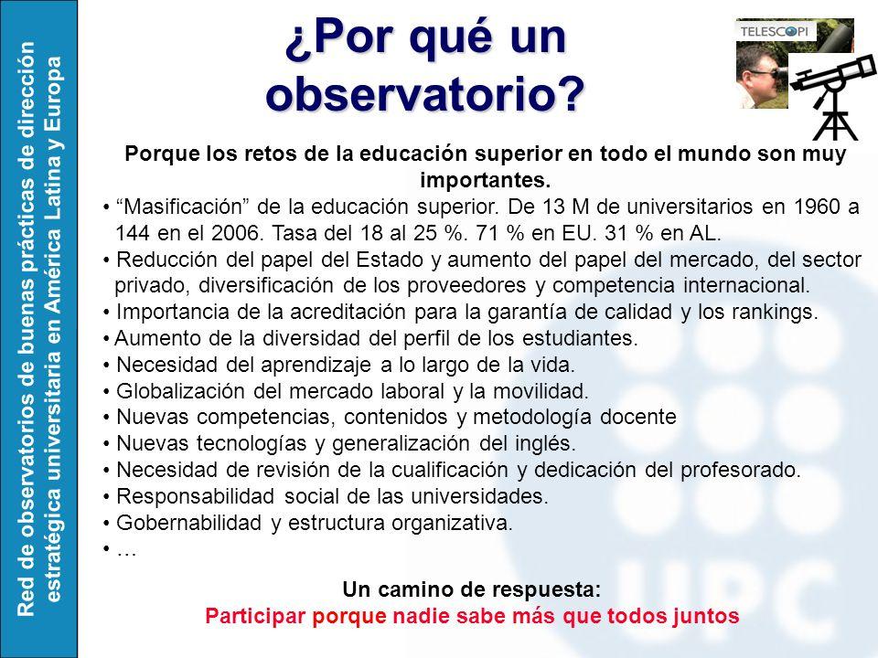 Red de observatorios de buenas prácticas de dirección estratégica universitaria en América Latina y Europa ¿Por qué un observatorio.