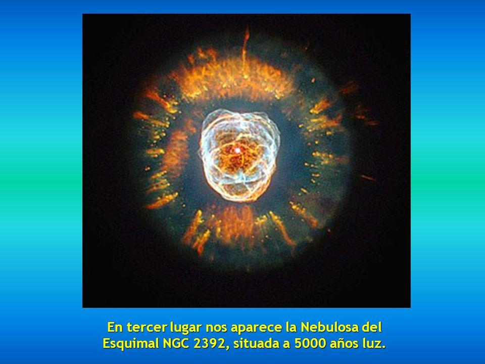 En segundo lugar tenemos la fabulosa Nebula Mz3 llamada Nebulosa de la Hormiga por la apariencia que presenta a los telescopios, situada entre 3000 y 6000 años luz.