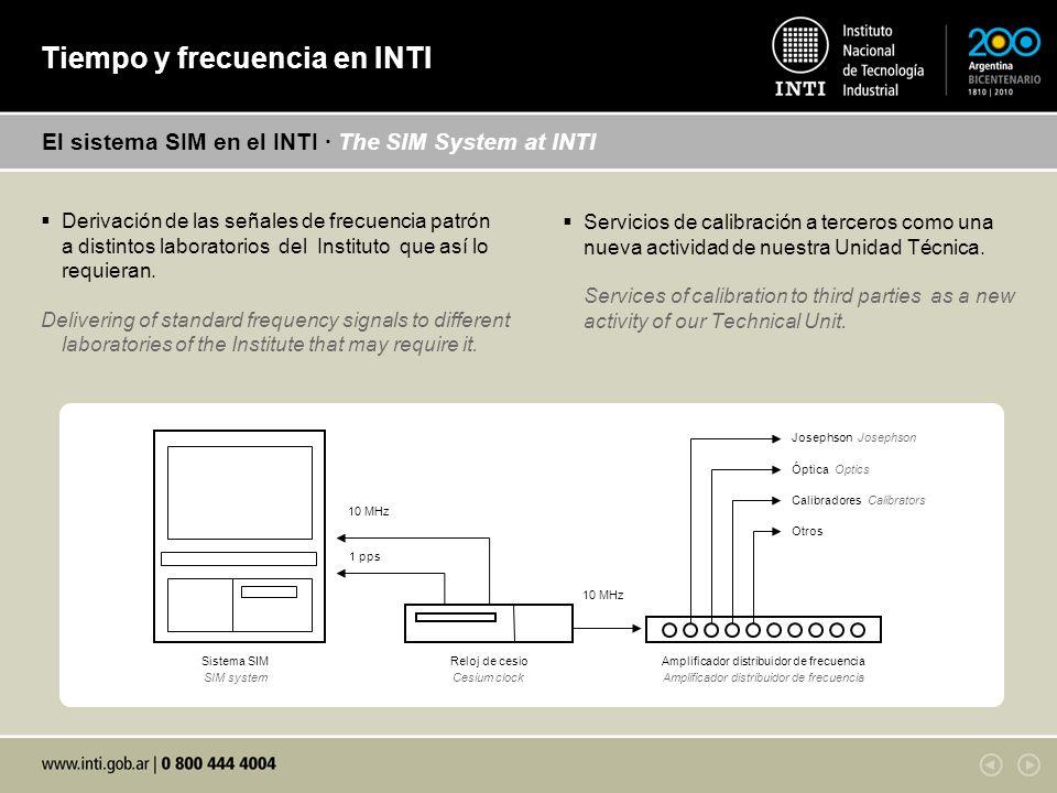 Derivación de las señales de frecuencia patrón a distintos laboratorios del Instituto que así lo requieran.