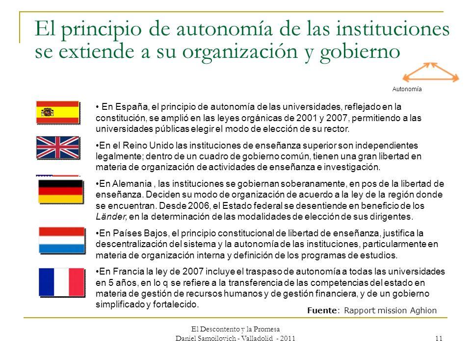 El Descontento y la Promesa Daniel Samoilovich - Valladolid - 2011 11 El principio de autonomía de las instituciones se extiende a su organización y g