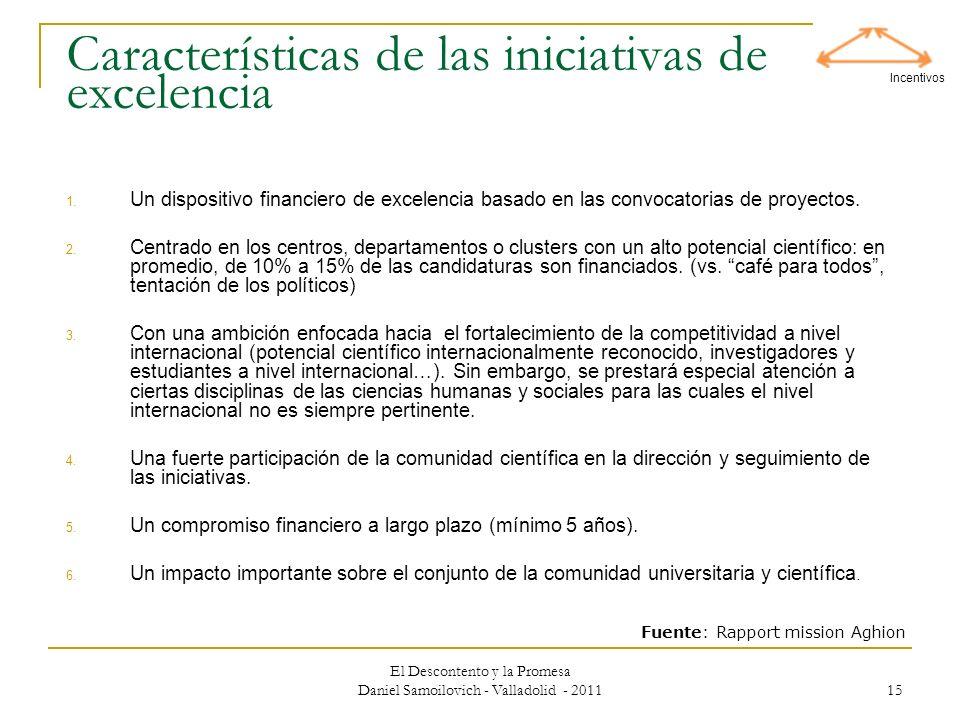 El Descontento y la Promesa Daniel Samoilovich - Valladolid - 2011 15 Características de las iniciativas de excelencia 1. Un dispositivo financiero de