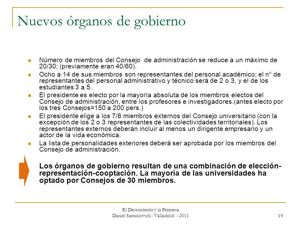 El Descontento y la Promesa Daniel Samoilovich - Valladolid - 2011 19 Nuevos órganos de gobierno Número de miembros del Consejo de administración se r