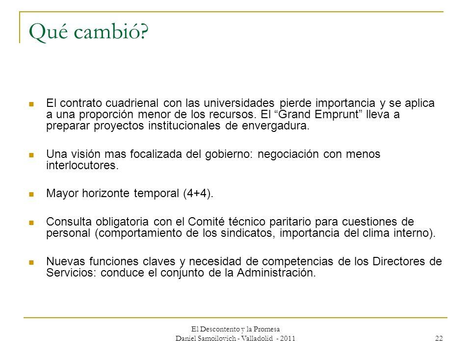 El Descontento y la Promesa Daniel Samoilovich - Valladolid - 2011 22 Qué cambió? El contrato cuadrienal con las universidades pierde importancia y se