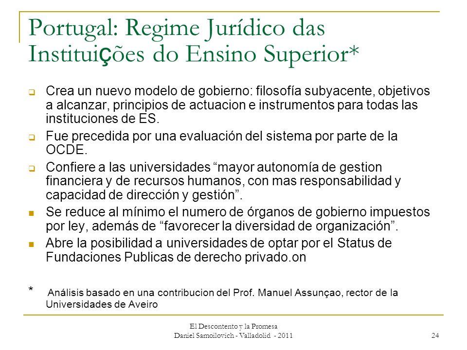 El Descontento y la Promesa Daniel Samoilovich - Valladolid - 2011 24 Portugal: Regime Jurídico das Institui ç ões do Ensino Superior* Crea un nuevo m