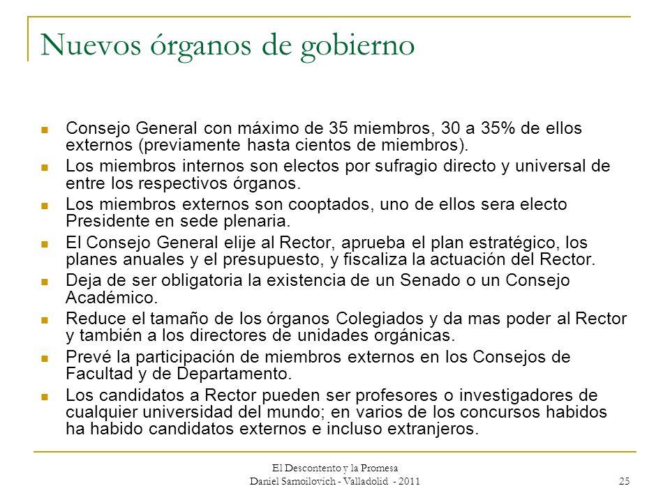 El Descontento y la Promesa Daniel Samoilovich - Valladolid - 2011 25 Nuevos órganos de gobierno Consejo General con máximo de 35 miembros, 30 a 35% d