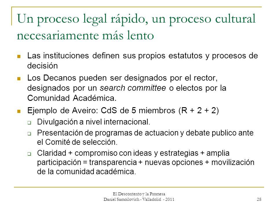El Descontento y la Promesa Daniel Samoilovich - Valladolid - 2011 28 Un proceso legal rápido, un proceso cultural necesariamente más lento Las instit