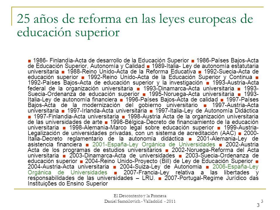 El Descontento y la Promesa Daniel Samoilovich - Valladolid - 2011 3 3 25 años de reforma en las leyes europeas de educación superior 1986- Finlandia-