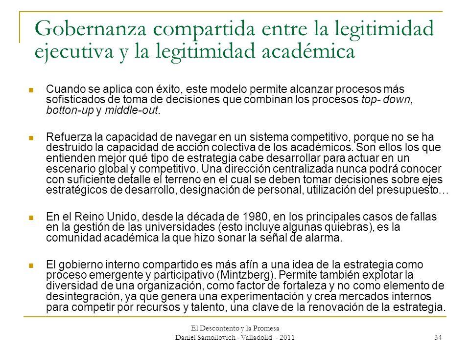 El Descontento y la Promesa Daniel Samoilovich - Valladolid - 2011 34 Gobernanza compartida entre la legitimidad ejecutiva y la legitimidad académica