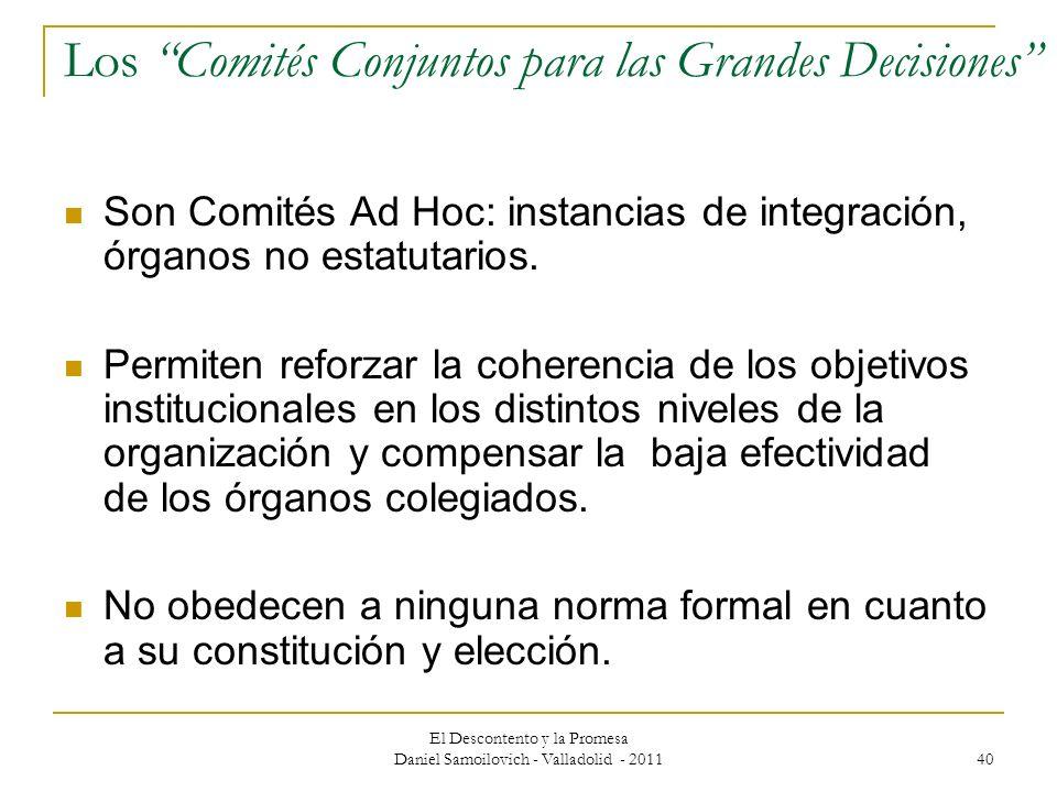 El Descontento y la Promesa Daniel Samoilovich - Valladolid - 2011 40 Los Comités Conjuntos para las Grandes Decisiones Son Comités Ad Hoc: instancias
