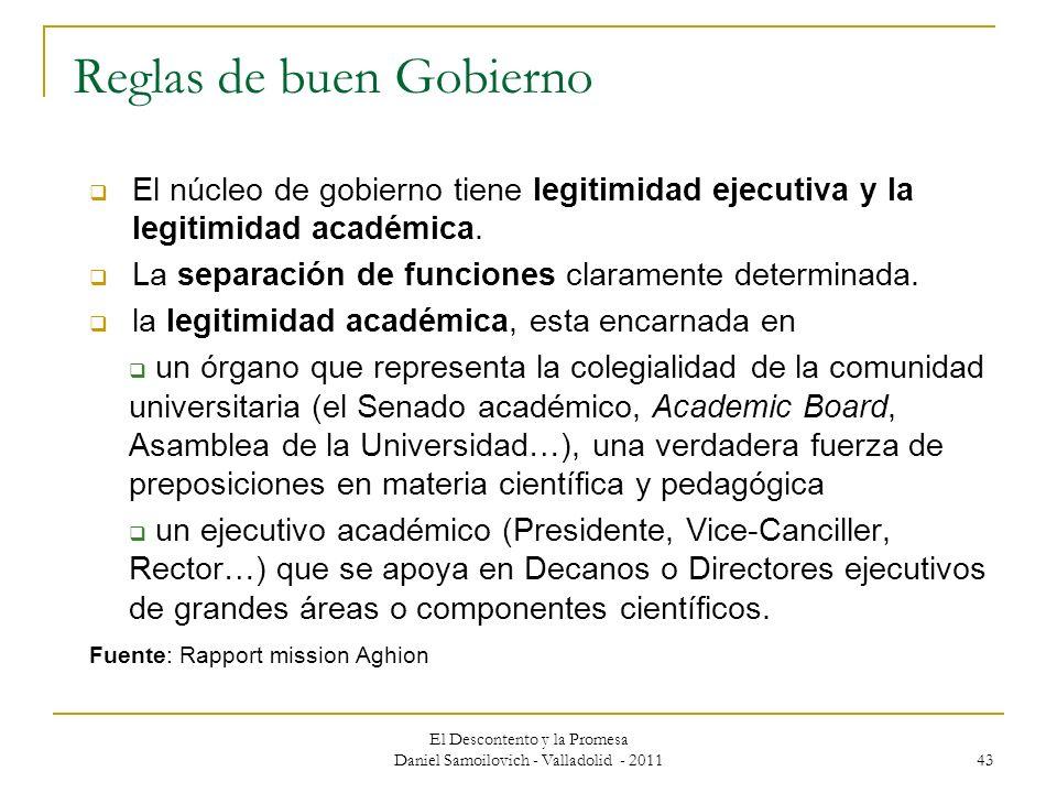 El Descontento y la Promesa Daniel Samoilovich - Valladolid - 2011 43 Reglas de buen Gobierno El núcleo de gobierno tiene legitimidad ejecutiva y la l