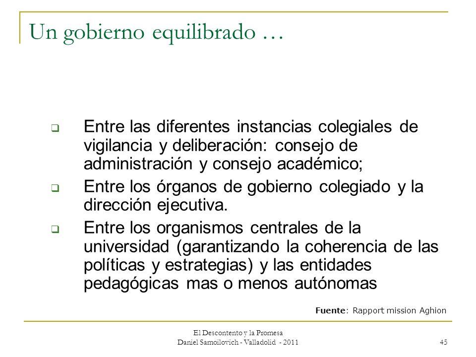 El Descontento y la Promesa Daniel Samoilovich - Valladolid - 2011 45 Un gobierno equilibrado … Entre las diferentes instancias colegiales de vigilanc