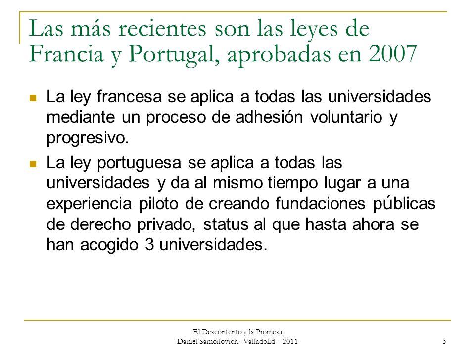 El Descontento y la Promesa Daniel Samoilovich - Valladolid - 2011 5 Las más recientes son las leyes de Francia y Portugal, aprobadas en 2007 La ley f