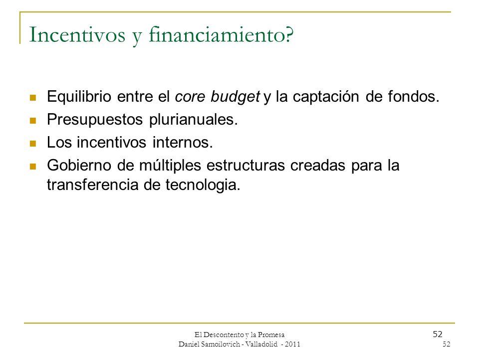 El Descontento y la Promesa Daniel Samoilovich - Valladolid - 2011 52 Incentivos y financiamiento? Equilibrio entre el core budget y la captación de f